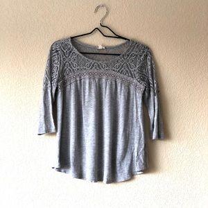 Gray crochet lace top